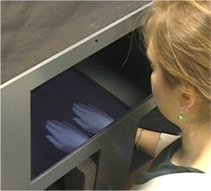Children placed their hand into the MIRAGE  and saw two images of their hand (the supernumerary limb illusion).